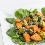 Healthy vegan lifestyle/ Recipes, fitness, skincare and beauty tips. Vegan Roasted Brussels Sprouts with Sweet Potatoes