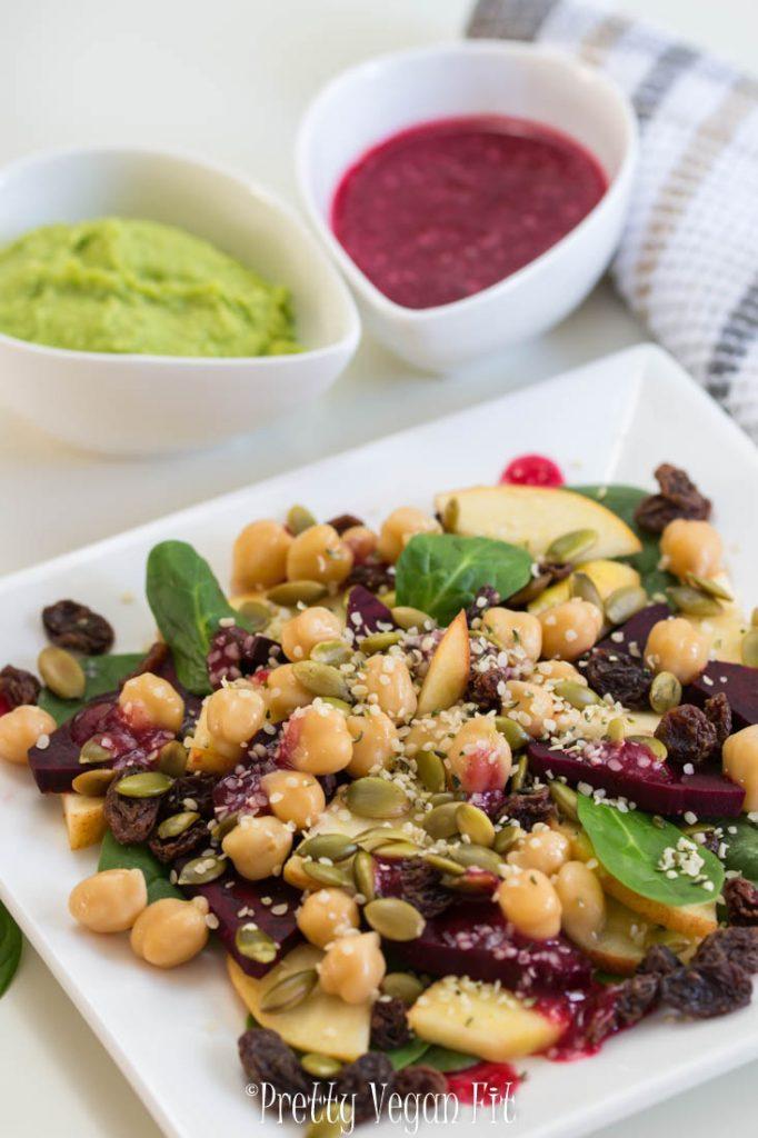 Vegan Post Workout Salad - Beets and Apple Salad with Cranberry-Orange Sauce