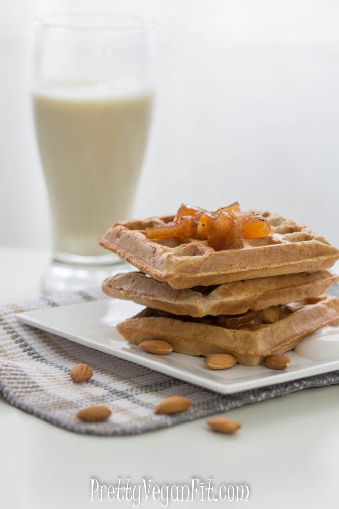 Vegan whole wheat and almond meal waffles - no sugar added!