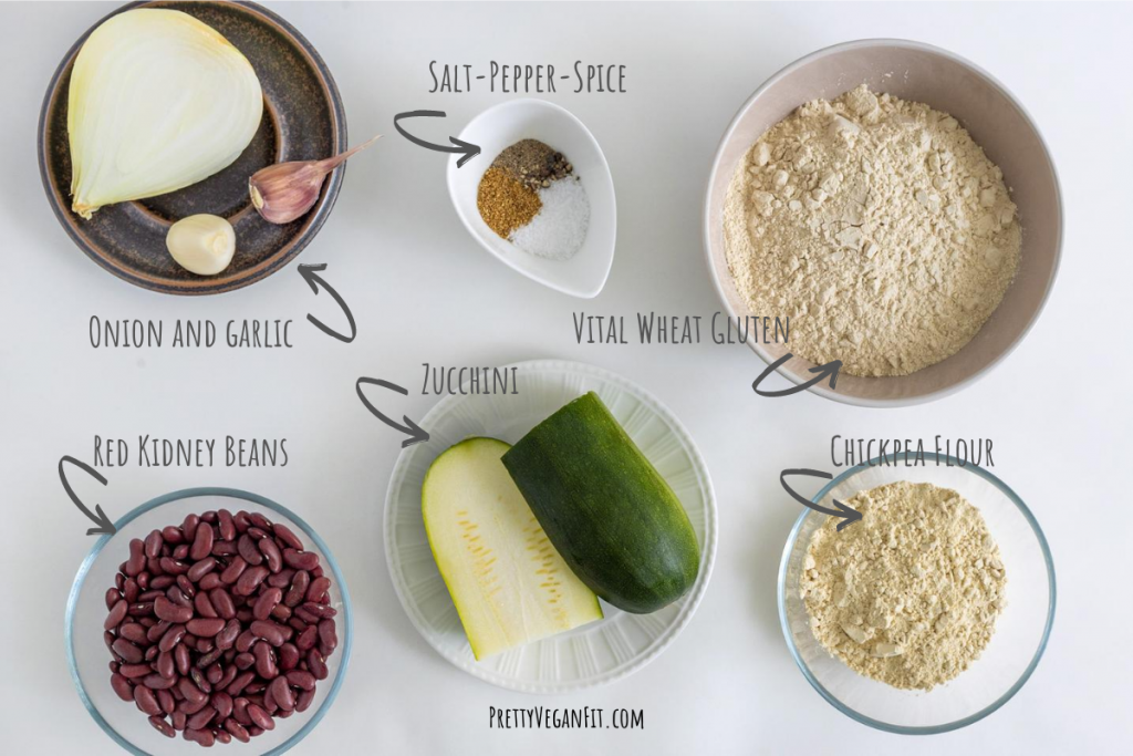 Ingredients for vegan seitan burgers: onion, garlic, spice, vital wheat gluten, chickpea flour, beans and zucchini
